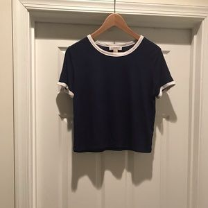 Forever 21 Navy and White Crop Top